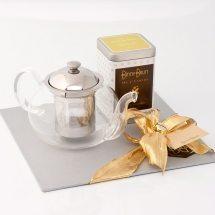 tetera cristal con té empacada